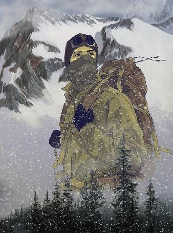 Анимация Альпинист на фоне леса и гор