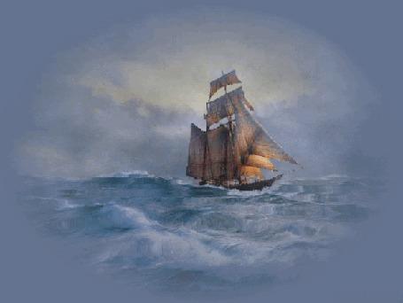 Анимация Парусник плывет по бурному морю
