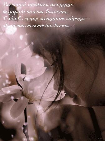 Анимация Девушка на фоне белых весенних цветов и падающих с них лепестков (Весенний проблеск для души подарит нежное волнение. Есть в сердце женщины отрада - цветенье нежности весны.)