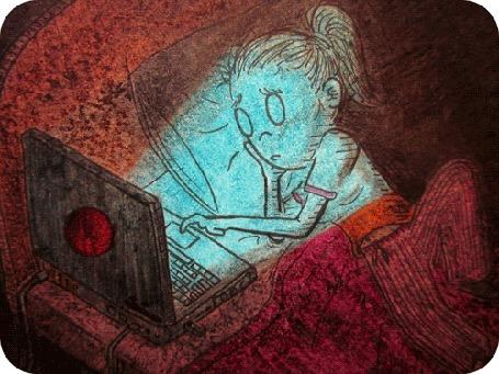 Анимация Девочка ночью забралась в постель с ноутбуком / The Daily Doodles by David Michael Chandler