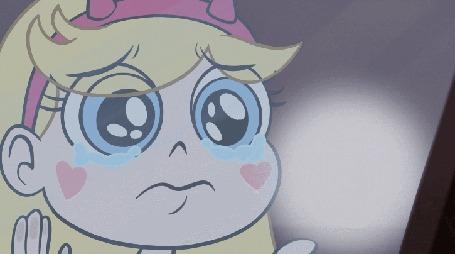 Анимация Звездочка Баттерфлай / Стар Баттерфлай / Star Butterfly из мультфильма Звездная принцесса и силы зла / Star vs. the Forces of Evil рисует на стеле грустную рожицу