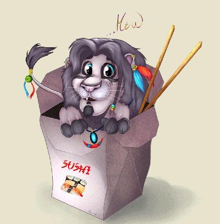 Анимация Игрушечный лев подглядывает из коробки с надписью SUSHI