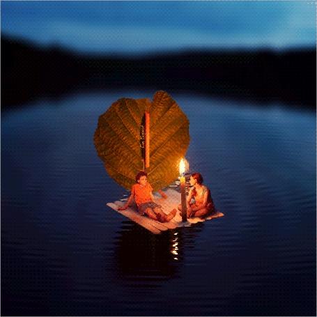 Анимация Дети на ночном озере