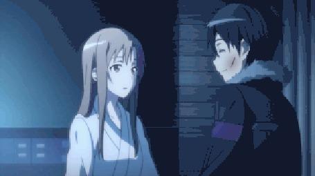 Анимация Кадзуто Киригая / Kazuto Kirigaya и Асуна Юки / Yūki Asuna из аниме Мастера меча онлайн / Sword Art Online слились в поцелуе