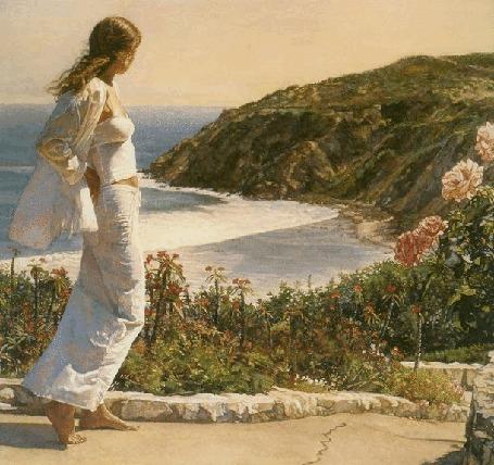 Анимация Девушка стоит на фоне природы и смотрит на море