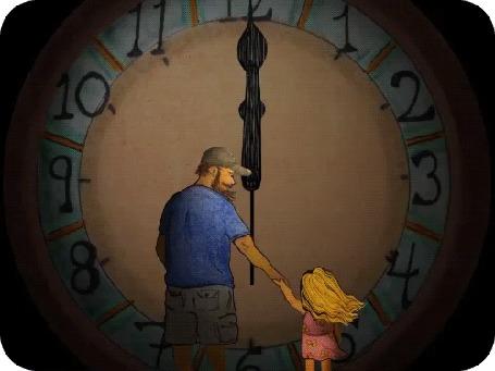 Анимация Мужчина стоит с девочкой перед огромными часами Fathers and Daughters / Отцы и дочери, by David Michael Chandler