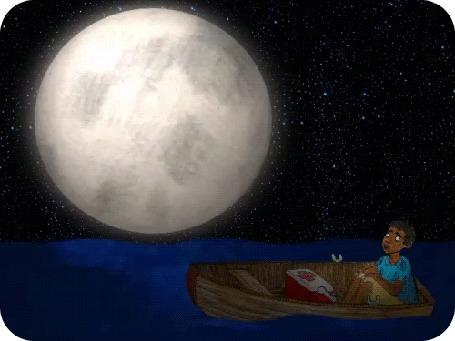 Анимация На лодке в море под полной луной плывет мальчуган Lost at Sea With a Cooler Full of Blackmarket Human Organs / Потерянные в море с кулером, полным черных человеческих органов, by David Michael Chandler