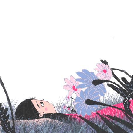 Анимация Девочка лежит на поляне цветов