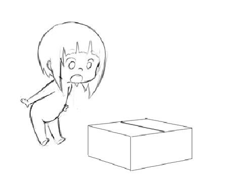 Анимация Милая девочка идет к коробке, открывает и достает звезду, by ChuuStar