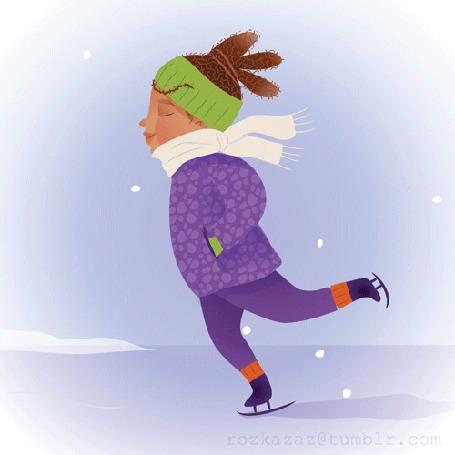 Анимация Девушка катается на коньках