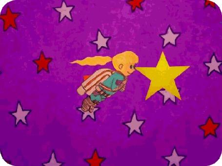 Анимация Ребенок в костюме космонавта летит в космосе A New Life in the Stars / Новая жизнь в звездах by David Michael Chandler