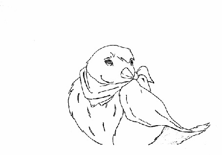 Анимация Черно-белый рисунок птицы, мальчика и белки, by ChuuStar