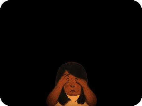 Анимация Девочка закрывает руками глаза и представляет себя в разных ипостасях, by David Michael Chandler