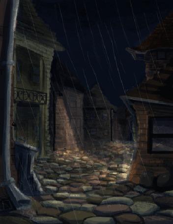Анимация Черная крыса ночью перебегает улицу под дождем, by saracastically