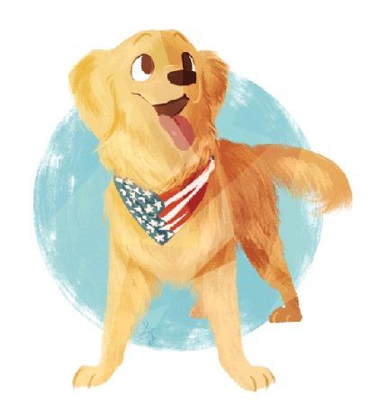 Анимация Рыжая собака с ошейником в виде американского флага виляет хвостом, by saracastically