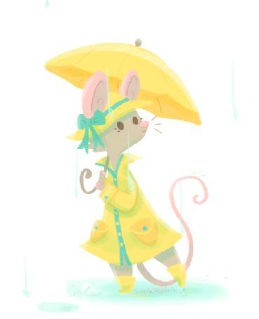 Анимация Мышка в одежде с зонтиком под дождем, by saracastically