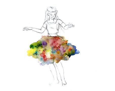 Анимация Девушка кружится в цветной юбке