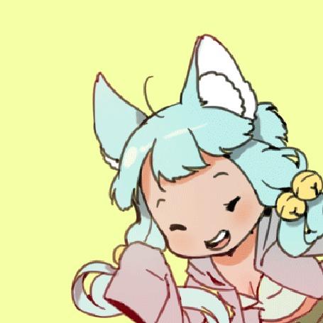 Анимация Девушка с ушками поднимает руку вверх на желтом фоне, by Nachooz
