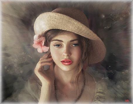 Анимация Портрет красивой, голубоглазой девушки в соломенной шляпке, нежно- розовой лилией за ушком на пепельно -дымчатом фоне (Женский портрет, автор Марина Попова) , by Leila