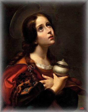 Анимация Портрет девушки с нимбом над головой, скрещенными руками на груди, нежный лик которой обращен к Богу (Мария - Магдалина. Флорентийский художник Карло Дольчи) , by Leila