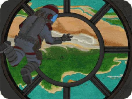 Анимация Космонавт сквозь большой иллюминатор смотрит на проплывающую внизу корабля Землю, by David Michael Chandler