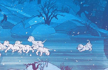 Анимация Щенята-далматинцы идут по льду под падающим снегом, кадры из мультфильма 101 далматинец / One Hundred And One Dalmatians
