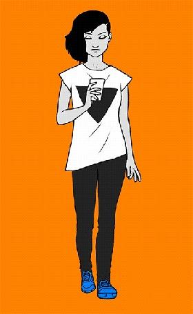 Анимация Идущая темноволосая девушка в белой майке, держит телефон в руке и одергивает волосы в сторону, на оранжевом фоне, by sykosan