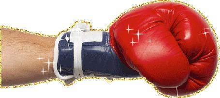 Анимация Сверкающая мужская рука в красной боксерской перчатке