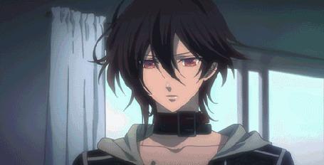 Анимация Шин / Shin целует Героиню / Heroine, кадры из аниме Амнезия / Amnesia