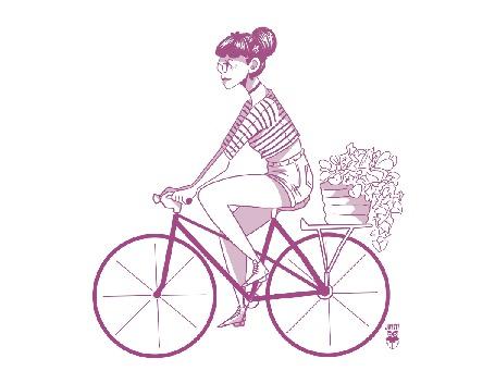 Анимация Девочка едет на велосипеде с корзиной цветов