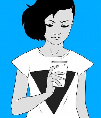 Анимация Темноволосая девушка в белой майке держит в руке телефон на голубом фоне, by sykosan