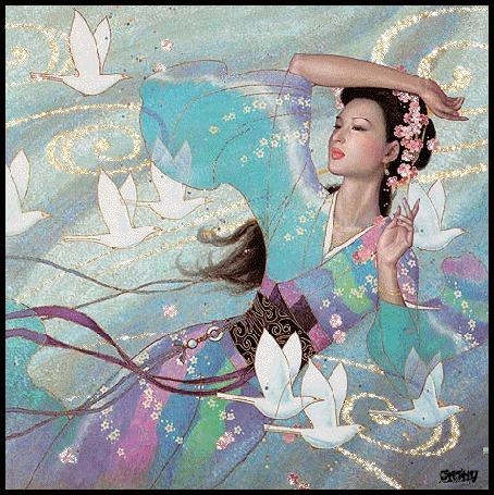 Анимация Девушка азиатской внешности в окружении голубей