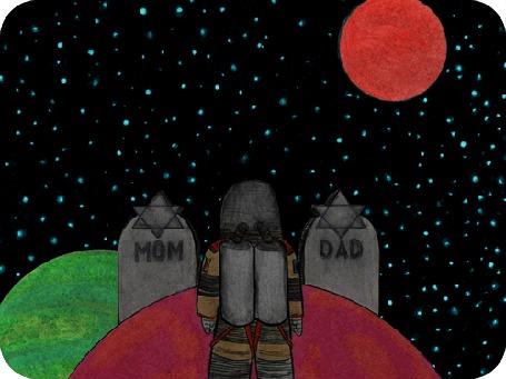Анимация За иллюминатором космического корабля видны вращающиеся планеты Тhe Orbit of the Burial Moon, by David Michael Chandler