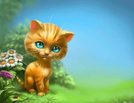 Анимация Рыжий зеленоглазый котенок сидит на траве и поднимает переднюю лапку, by Anna Antracit