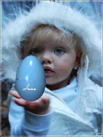 Анимация Ребенок держит яйцо с появляющимся из него кроликом