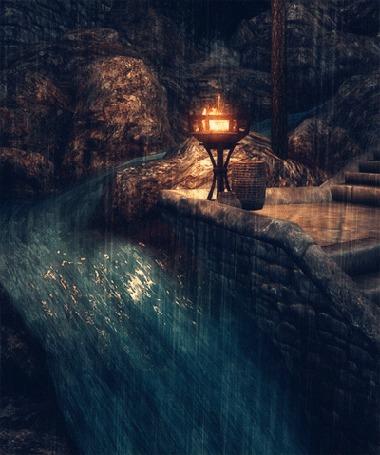 Анимация Горящий огонь перед каналом под дождем из игры Скайрим / Skyrim