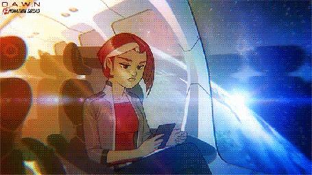 Анимация Девушка поправляет волосы, сидя в космическом корабле, by sykosan