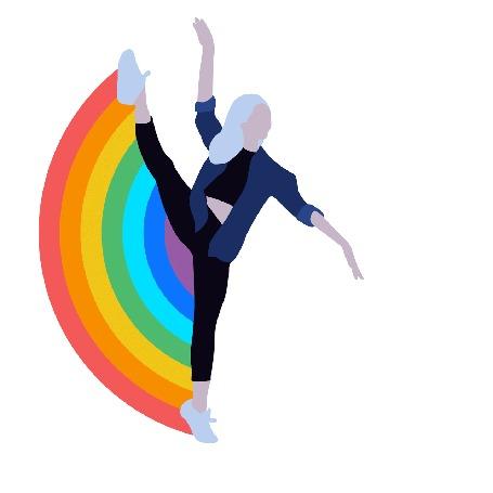 Анимация Девушка поднимает ногу и появляется радуга