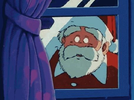 Анимация Дед мороз написал на стекле (Merry X-mas / Веселого рождества)