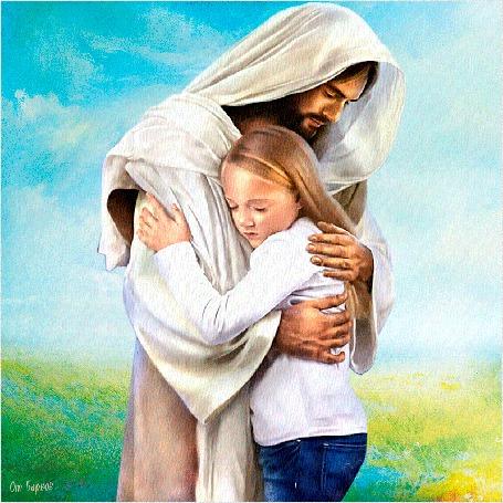 Анимация Картина на холсте Любовь к Богу! Девочка на природе обнимает Иисуса Христа, в небе летят голуби