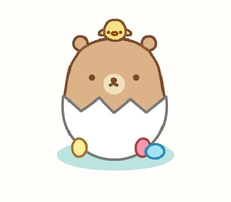 Анимация Цыпленок на мишке, который сидит в яйце, by SqueakyToybox