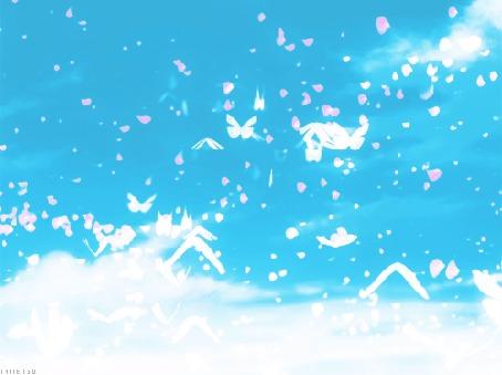 Анимация Бабочки порхают над водой