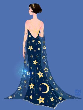 Анимация Девушка - маг в длинном платье со звездами и месяцем с волшебной палочкой в руке