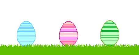Анимация Голубое, розовое и зеленое яйца на траве из которого вылупливаются котята, by MrrrCat