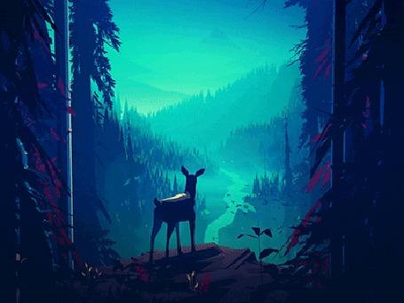 Анимация Олененок в лесу наблюдает за птицами в небе