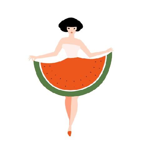 Анимация Девушка в юбке в виде арбуза идет на белом фоне