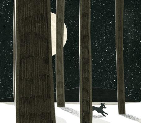 Анимация Бегущая по ночному лесу лиса