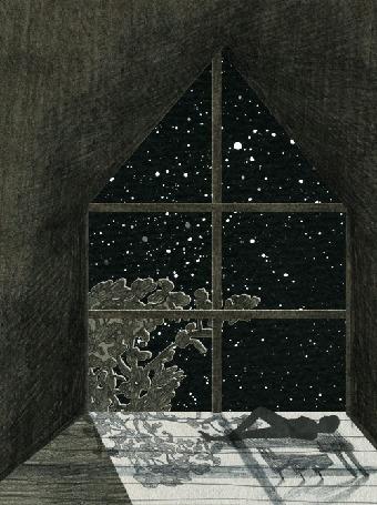 Анимация Парень лежит перед окном, за которым колышется дерево