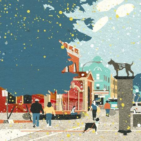 Анимация Люди в городе и пес на постаменте, смотрящий на них
