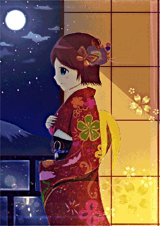 Анимация Девушка смотрит на луну, by chinchongcha